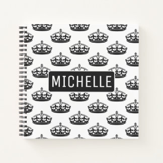 Personalized Black Crown Notebook