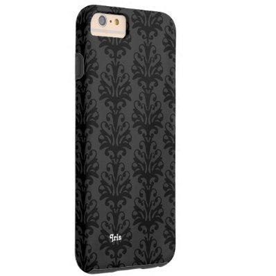 Personalized Black Damask iPhone 6 case