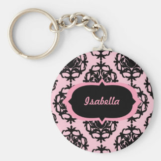 Personalized Black Damask on Pink Keychain