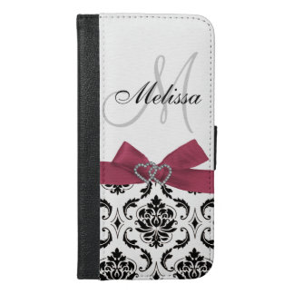 Personalized Black Damask Pink Bow Diamond Hearts iPhone 6/6s Plus Wallet Case