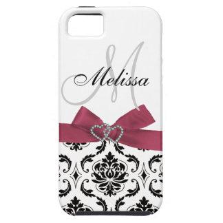 Personalized Black Damask Pink Bow Diamond Hearts iPhone SE/5/5s Case