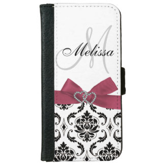 Personalized Black Damask Pink Bow Diamond Hearts Wallet Phone Case For iPhone 6/6s
