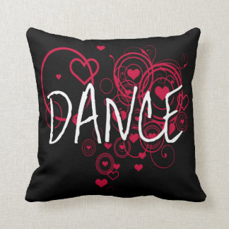 Personalized Black Dance Hearts Edgy Throw Pillow