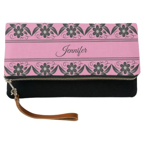 Personalized Black Floral Border Clutch