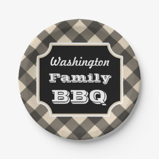 Personalized Black Gingham Paper Plates