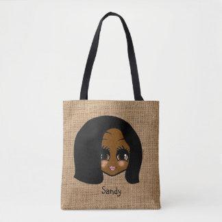 Personalized black girl Caricature Jute Print Tote