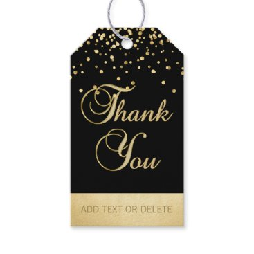 Professional Business Personalized Black Gold Confetti THANK YOU favor Gift Tags