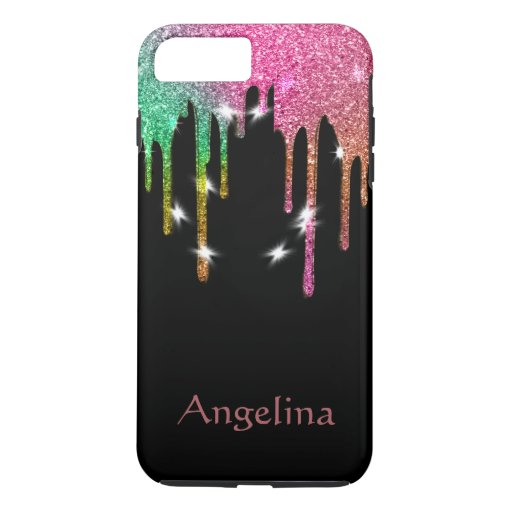 Personalized Black Gold Glitter Confetti Dripping iPhone 8 Plus/7 Plus Case