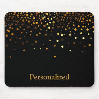 Personalized Black Gold Glitter Faux Foil Mouse Pad