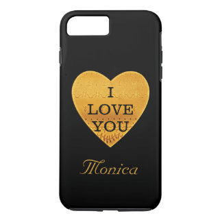 Personalized Black & Gold Heart I Love You iPhone 8 Plus/7 Plus Case