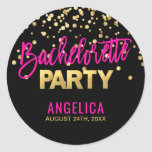 """Personalized Black Gold Hot Pink BACHELORETTE Classic Round Sticker<br><div class=""""desc"""">These are perfect and gorgeous gift favor,  invitation cards stickers / labels / seals for bachelorette party with a modern brush stroke script in hot pink color with faux gold foil for PARTY and confetti.  Customize these with your names and date.  BACKGROUND color : black.</div>"""