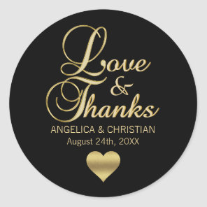 Personalized Black Gold LOVE & THANKS Wedding Classic Round Sticker