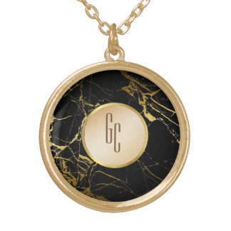 personalized black gold marble necklace