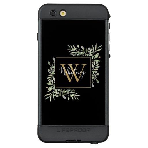 Personalized Black Gold Monogram Greenery Floral LifeProof NÜÜD iPhone 6s Plus Case