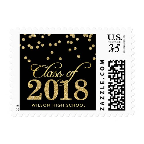 Personalized Black & Gold Polka-dots Graduation Postage