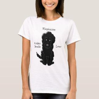 Personalized Black Goldendoodle Dog Design T-Shirt
