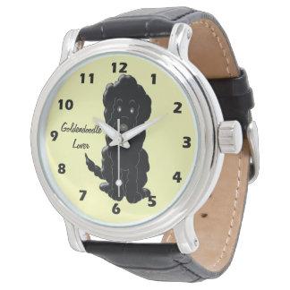 Personalized Black Goldendoodle Dog Design Wristwatch