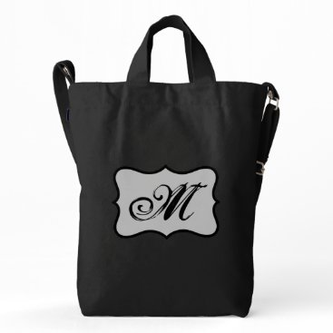 Professional Business Personalized Black Gray Monogram Initial Tote Duck Bag