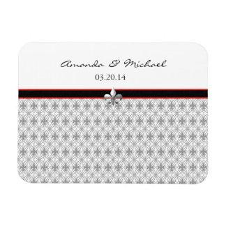 Personalized Black Gray Red Fleur de Lis Pattern Magnet