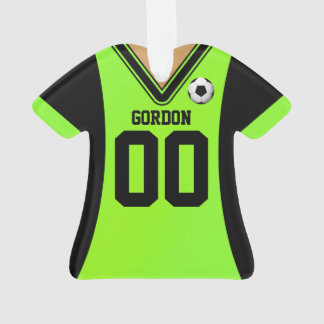 Personalized Black/Green Soccer Jersey Ornament