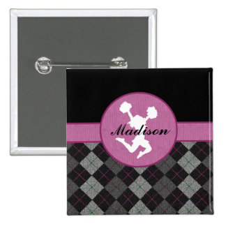 Personalized Black, Grey, Pink Argyle Cheer / Pom 2 Inch Square Button