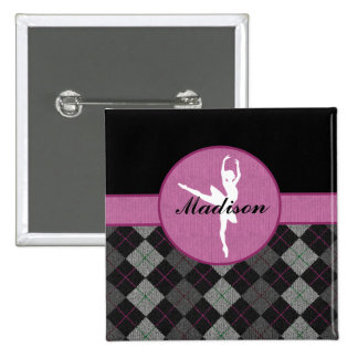 Personalized Black, Grey, Pink Argyle Dancer 2 Inch Square Button