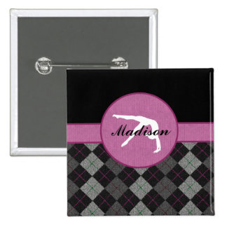 Personalized Black, Grey, Pink Argyle Gymnastics 2 Inch Square Button
