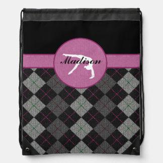 Personalized Black, Grey, Pink Argyle Gymnastics Drawstring Backpack