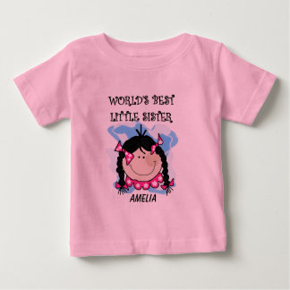 Personalized Black Hair Best Little Sister Tshirt