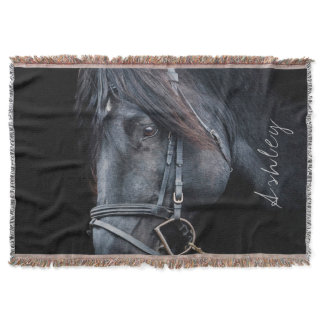Personalized Black Horse Blanket