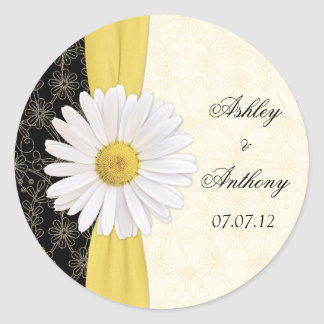 Personalized Black Ivory Daisy Wedding Stickers
