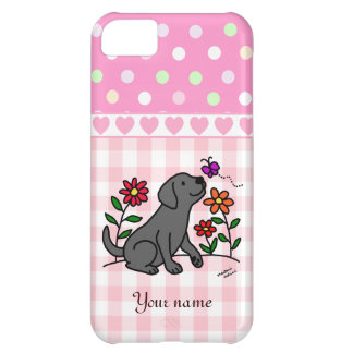 Personalized Black Lab and Green Cartoon Case For iPhone 5C
