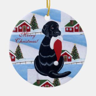 Personalized Black Lab Christmas Santa Hat Ceramic Ornament