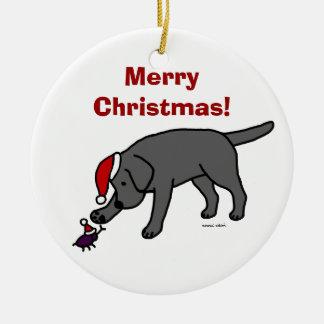 Personalized Black Lab Christmas Santa Hat Ornaments