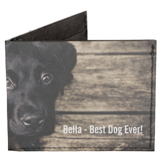 Personalized Black Lab Dog Photo and Dog Name Billfold Wallet