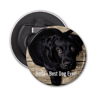 Personalized Black Lab Dog Photo and Dog Name Bottle Opener