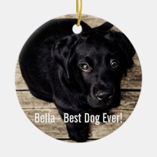 Personalized Black Lab Dog Photo and Dog Name Ceramic Ornament