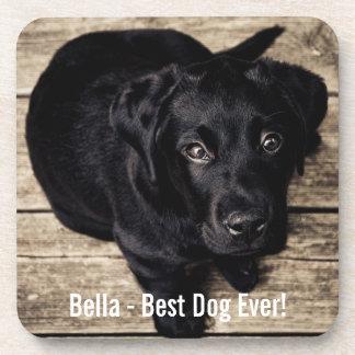 Personalized Black Lab Dog Photo and Dog Name Coaster