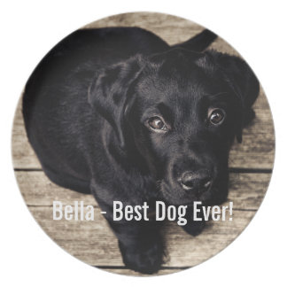 Personalized Black Lab Dog Photo and Dog Name Dinner Plate