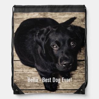Personalized Black Lab Dog Photo and Dog Name Drawstring Backpack