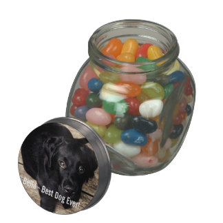 Personalized Black Lab Dog Photo and Dog Name Jelly Belly Candy Jar