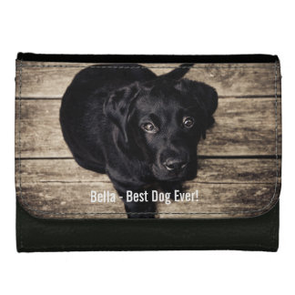Personalized Black Lab Dog Photo and Dog Name Leather Wallet For Women