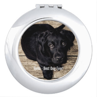 Personalized Black Lab Dog Photo and Dog Name Makeup Mirror