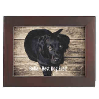 Personalized Black Lab Dog Photo and Dog Name Memory Box