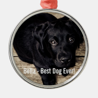 Personalized Black Lab Dog Photo and Dog Name Metal Ornament