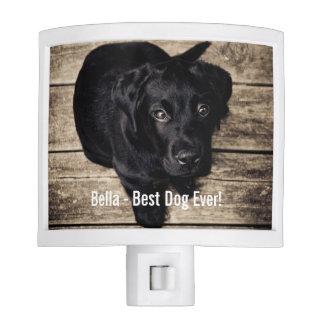 Personalized Black Lab Dog Photo and Dog Name Night Light