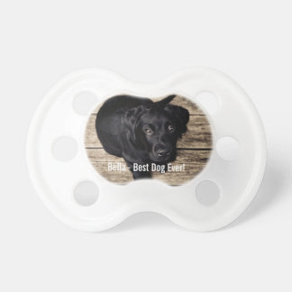 Personalized Black Lab Dog Photo and Dog Name Pacifier