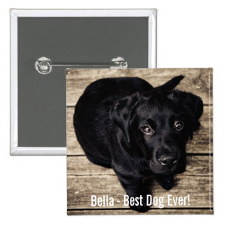 Personalized Black Lab Dog Photo and Dog Name Pinback Button