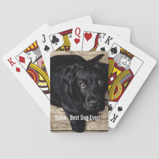 Personalized Black Lab Dog Photo and Dog Name Playing Cards