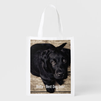 Personalized Black Lab Dog Photo and Dog Name Reusable Grocery Bag